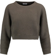 Brunello Cucinelli Cropped Metallic Ribbed-Knit Cashmere-Blend Sweater
