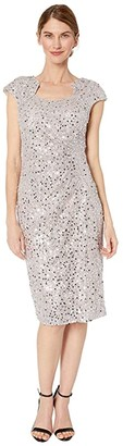 Tahari ASL Petite Cap Sleeve Sequin Stretch Lace Side Draped Dress (Silver Mist) Women's Dress