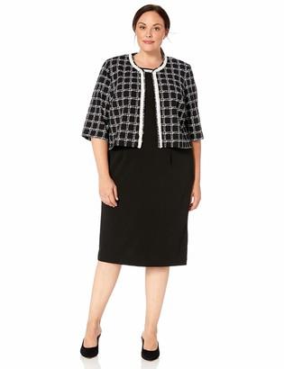 Maya Brooke Women's Checkered Whtie Border Jacket Dress