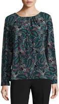 Liz Claiborne Long Sleeve Scoop Neck Geometric T-Shirt-Womens