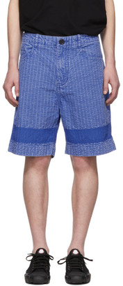 Craig Green Blue Acid Wash Line Stitch Shorts