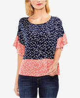 Vince Camuto Colorblocked Flounce-Sleeve Top