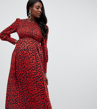 Queen Bee long sleeve shirred bust midi dress in red leopard