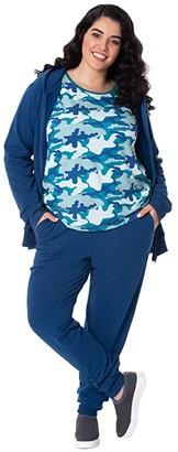 Kickee Pants Plus Size Fleece Tapered Sweatpants (Navy) Women's Pajama