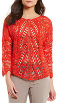XCVI Adriana Crew Neck 3/4 Sleeve Crochet Top
