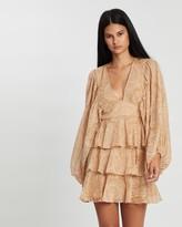 Shona Joy Draped Sleeve Tiered Mini Dress