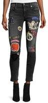 True Religion Halle Patch Mid-Rise Skinny Jeans, Black Rebel
