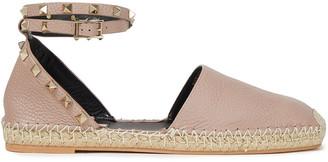 Valentino Rockstud Pebbled-leather Espadrilles
