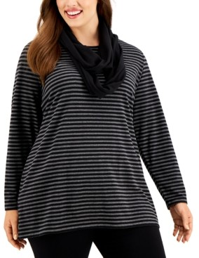 Karen Scott Plus Size Striped Top With Scarf, Created for Macy's