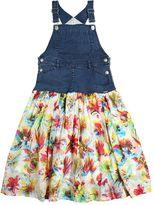 Junior Gaultier Denim & Floral Muslin Overalls Dress