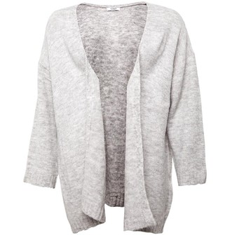 Jacqueline De Yong Womens Crea Treats Long Sleeve Knit Cardigan Light Grey Melange