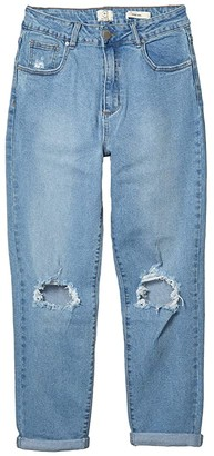 Cotton On Teen Stretch Mom Jeans in Stonewash Blue Rips (Stonewash Blue Rips) Girl's Jeans