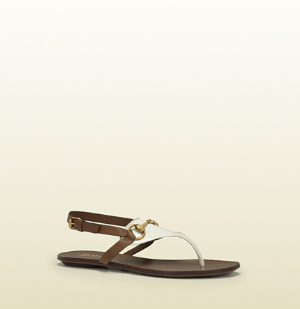 Gucci Alyssa White Patent Leather Flat Thong Sandal