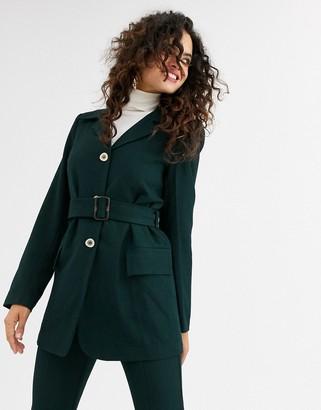 UNIQUE21 belted wool blazer