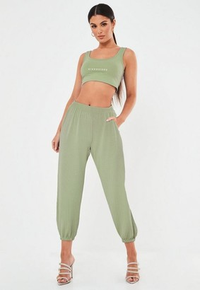 Missguided Green Oversized Ribbed Joggers