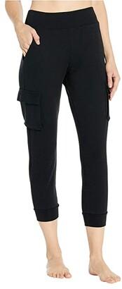 Alo 7/8 High-Waist Cargo Sweatpants (Black) Women's Casual Pants