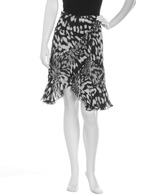 Just Cavalli Faux-Wrap Printed Silk Skirt