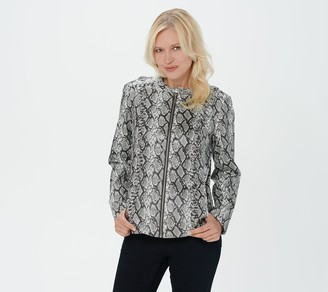H by Halston Snake Printed Faux Leather Jacket with Whipstitching