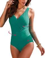 Passionate Adventure Women's Sexy Slim One Piece Monokini Tummy Control Swimsuit Plus Size Swimwear
