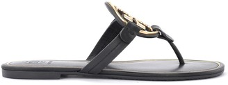 Tory Burch Miller Sandal In Black Leather With Golden Metal Logo