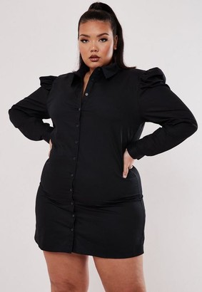 Missguided Size Black Poplin Sleeve Shirt Dress