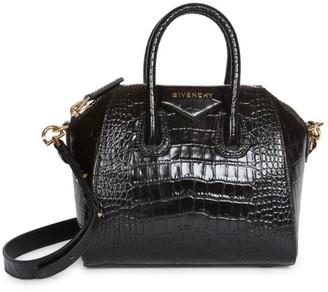 Givenchy Mini Antigona Croc-Embossed Leather Satchel