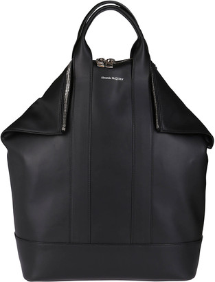 Alexander McQueen Black Leather Manta Backpack