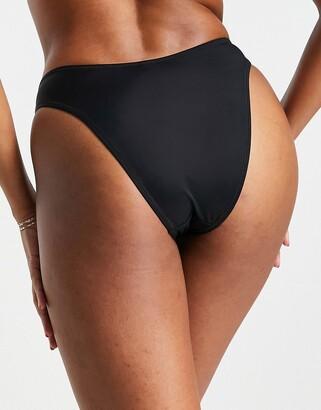 Pour Moi? Pour Moi Fuller Bust Space high leg bikini bottoms in black
