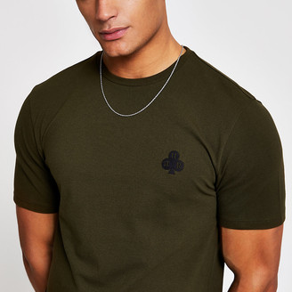 River Island Khaki pique slim fit T-shirt