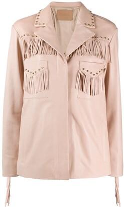 Drome Studded Fringe-Detail Leather Jacket