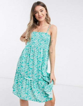 JDY cami midi dress in green floral