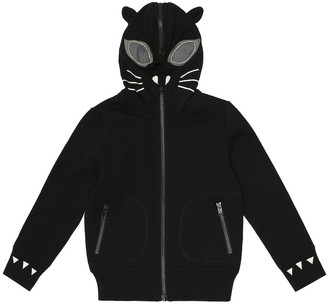 Stella McCartney Kids Cat zip-up cotton hoodie