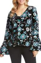 Karen Kane Embroidered Floral Velvet Top