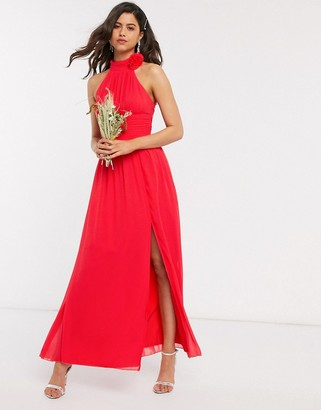 Little Mistress corsage maxi dress in red