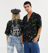 Collusion COLLUSION Unisex revere shirt with back print