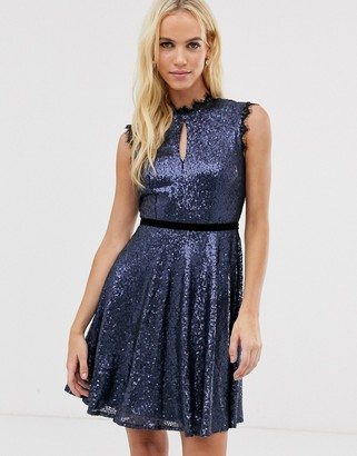 Little Mistress sequin key hole skater dress