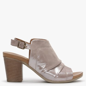 Df By Daniel Mahlie Metallic Taupe Leather High Front Ruched Sandals