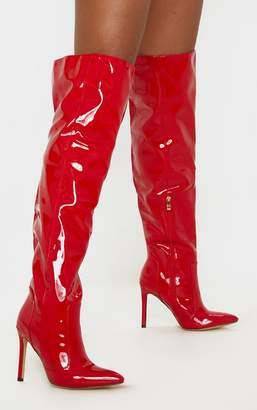 PrettyLittleThing Red Patent Knee High Boot