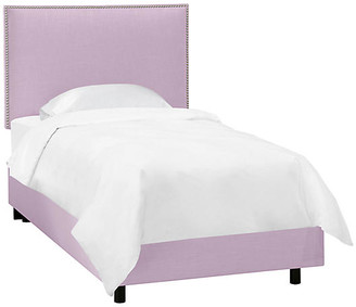 One Kings Lane Loren Kids' Bed - Lilac Linen - frame, black; upholstery, lilac; nailheads, silver
