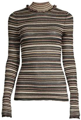 Herve Leger Metallic Stripe Long Sleeve Turtleneck