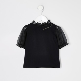 River Island Mini girls Black organza puff sleeve T-shirt