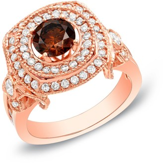 14k Rose Gold Vintage Inspired 2ct TDW Double Halo Brown Diamond Engagement Ring by Auriya