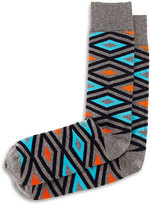 Jonathan Adler Diamond-Print Knit Socks, Gray/Turquoise/Orange