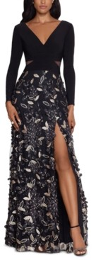 Xscape Evenings Petite Embellished V-Neck Gown