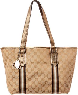 Gucci Gold Gg Canvas & Leather Jolicoeur Tote