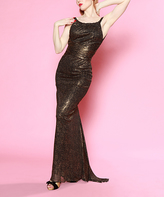 Bettie Page Black & Gold Speckle Gown