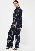 Missguided Petite Exclusive Navy Floral Print Wide Leg Trousers