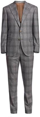 Brunello Cucinelli Tonal Plaid Wool Suit