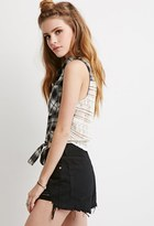 Forever 21 FOREVER 21+ Crocheted Plaid Self-Tie Shirt