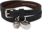 Alexander McQueen Crystal skull leather double wrap bracelet